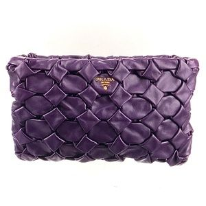 Prada Purple Quilted Nappa Leather Origami Clutch NEW